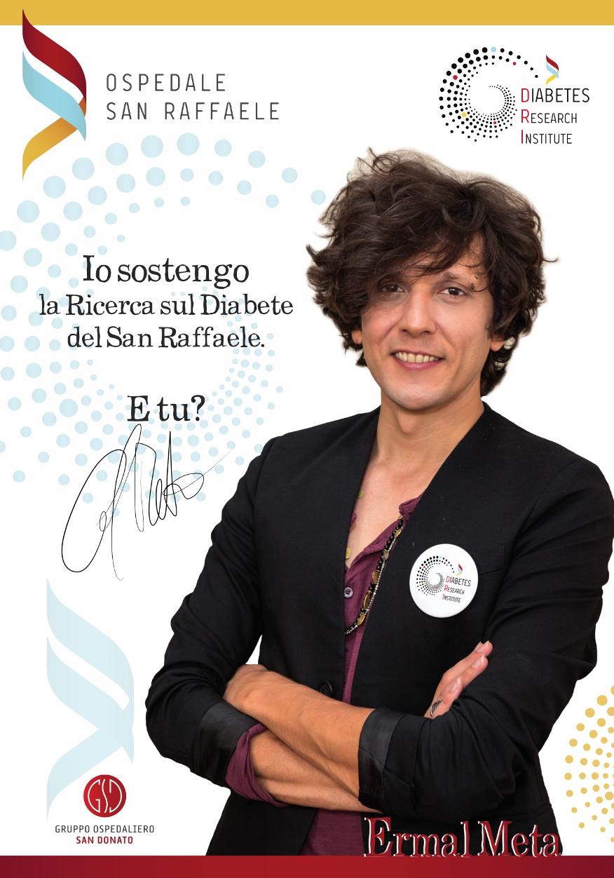Ermal Meta sostiene la ricerca sul diabete del San Raffaele di Milano