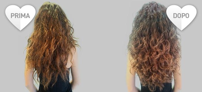 Foto capelli ricci sfibrati - prima e dopo il trattamento