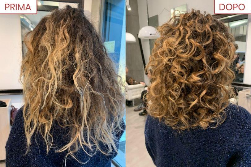 Prima e Dopo capelli ricci crespi